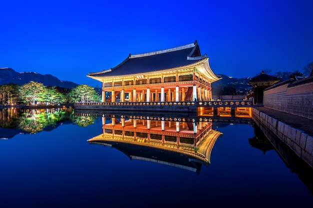 Gyeongbokgung palace at night in seoul,korea.