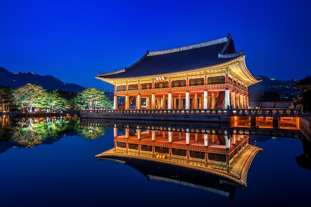 Gyeongbokgung palace at night in seoul,korea