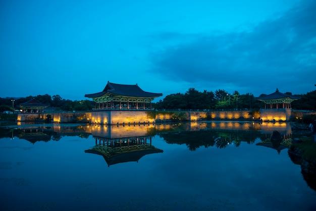 韓国の慶州の慶州東宮と月池