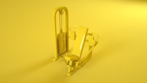 黄色の背景に分離されたジムバタフライマシン。 3dイラスト。