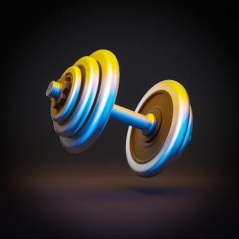 Gym dumbbell in neon chromed steel