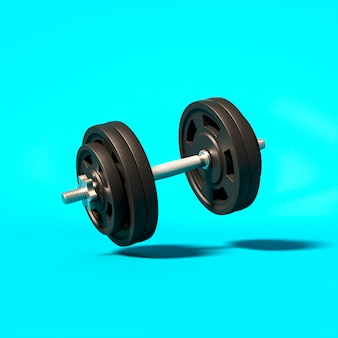 Gym dumbbells on a light blue background.