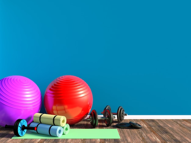 Gym equipment for fitness exercise with aerobic fitball, dumbbells and yoga mat in room