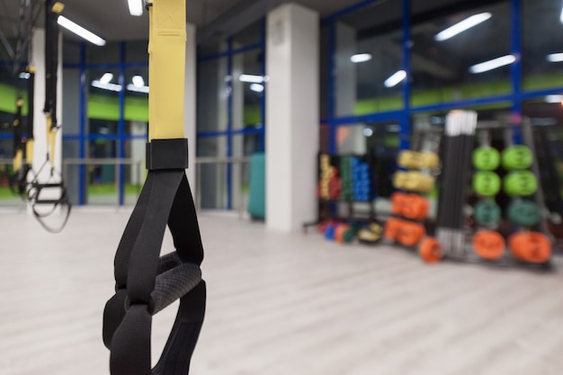 Gym and fitness room with equipment trx. interior of a sports hall