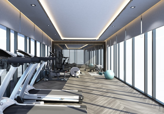 Тренажерный зал в современном дизайне интерьера 3d-рендеринга