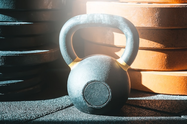 Gym. kettlebell and barbell weights.