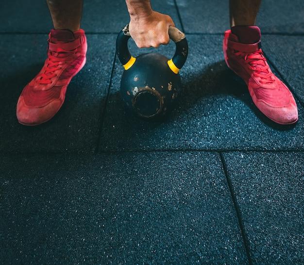 Gym. kettlebell training. crossfit.
