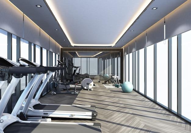 Gym in modern interior design 3d rendering