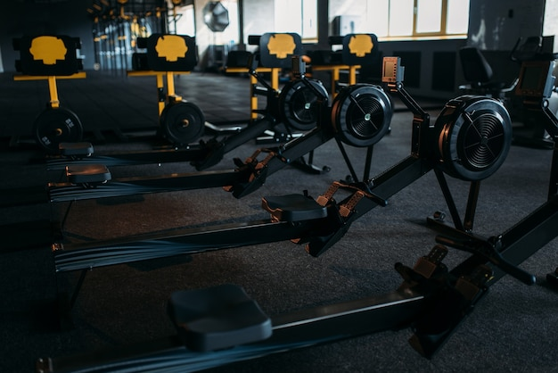Gym nobody, empty fitness club. strength training machine. sport center equipment