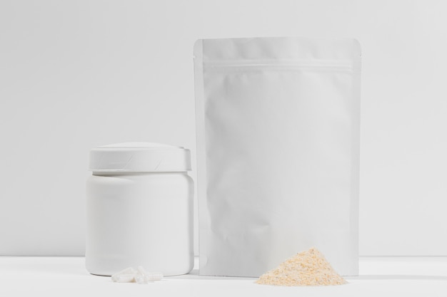 Gym powder supplements jar on desk
