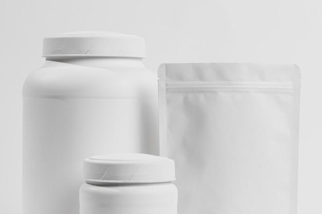Gym powder supplements on jar