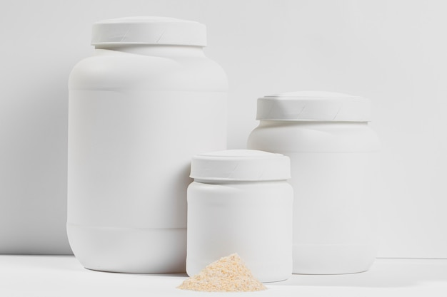 Gym powder supplements jars