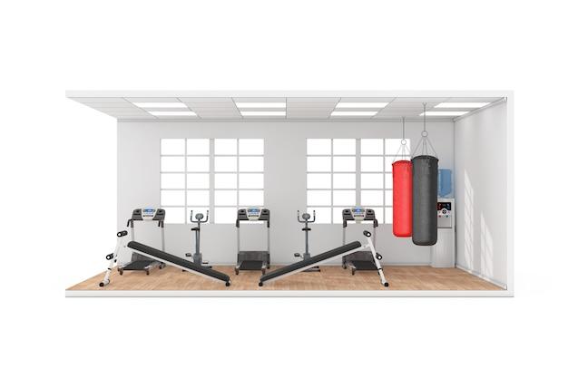 大きな窓、エクササイズベンチ、ボクシングトレーニング用の革製サンドバッグ、トレッドミルマシン、白い背景の木製寄木細工の床のある体育館の部屋のインテリア。 3dレンダリング