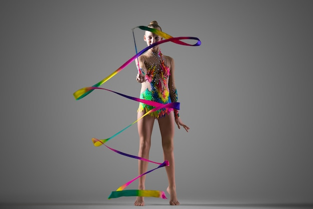 Gymnast girl with ribbon