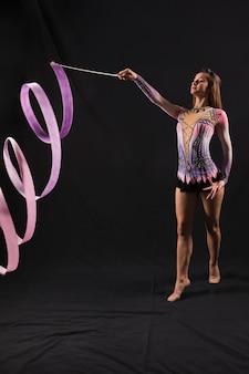 Gymnast using the ribbon