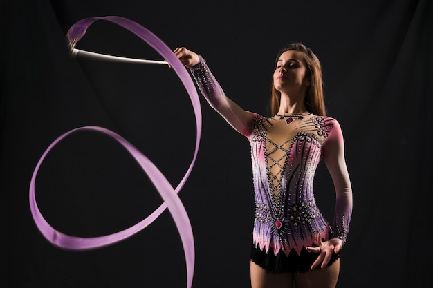 Gymnast using the ribbon