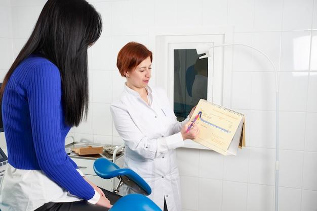 Гинеколог показывает пациентке фотографию с маткой, объясняет особенности здоровья женщины во время медицинской консультации в кабинете