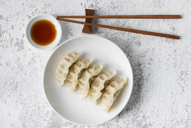 Gyoza on white plate