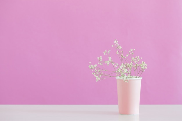 Гипсофила цветы в вазе на розовом фоне