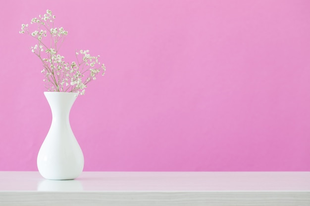 Gypsophila flowers in vase on pink background