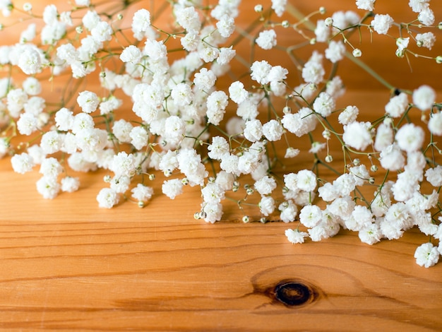 Gypsophila paniculata, baby's breath flowers on wooden surface. flat lay composition.