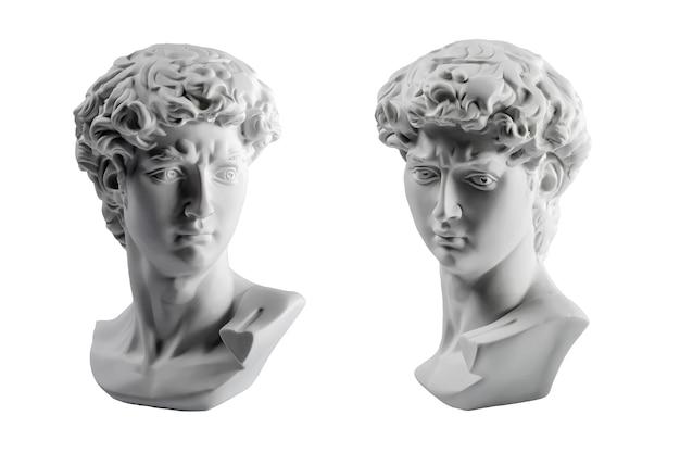 데이비드의 머리 석고 동상, 미켈란젤로의 데이비드 동상 석고 복사 흰색 배경에 고립