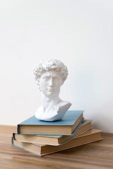 Гипсовая статуя головы давида на книжной полке