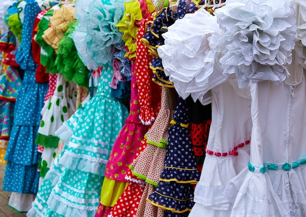 Gypsy dresses in an andalusian spain market