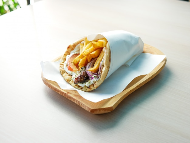 Gyros on a restaurant table