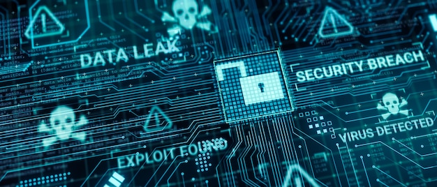 Hacker attack computer hardware microchip while process data through internet network, 3d rendering insecure cyber security exploit database breach concept, virus malware unlock warning screen