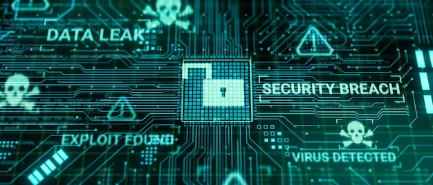 해커는 인터넷 네트워크를 통해 데이터를 처리하는 동안 컴퓨터 하드웨어 마이크로칩을 공격하고, 3d 렌더링은 안전하지 않은 사이버 보안 익스플로잇 데이터베이스 위반 개념, 바이러스 맬웨어 잠금 해제 경고 화면