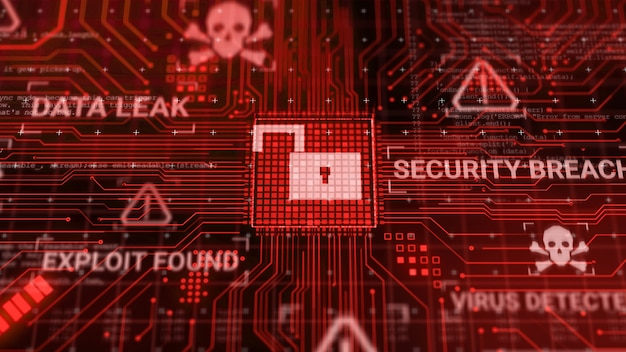 インターネットネットワークを介してデータを処理している間にハッカーがコンピューターハードウェアマイクロチップを攻撃し、安全でないサイバーセキュリティエクスプロイトデータベース違反の概念を3dレンダリングし、ウイルスマルウェアのロック解除警告画面