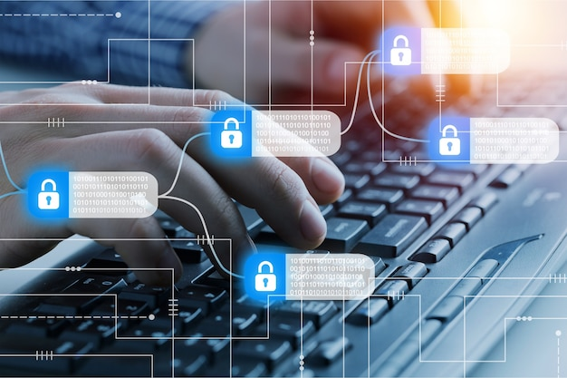 Hacker attack and data breach, information cocncept