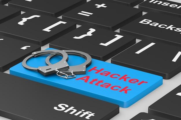 Хакерская атака. наручники на клавиатуре. 3d иллюстрации