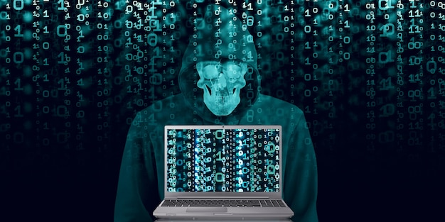 Hacker in black hood on binary background code containing a binary stream and a security condition. cyber security database penetration 3d illustration