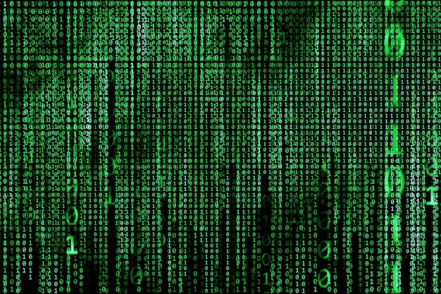 Hacker concept ,computer binary codes ,green text on black background.