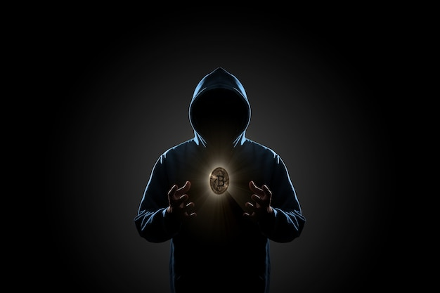 Hacker in dark background concept