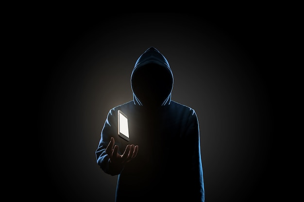 Hacker in dark background concept