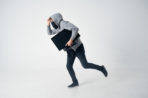 해커 후드 헤드 해킹 기술 보안 고립 된 배경