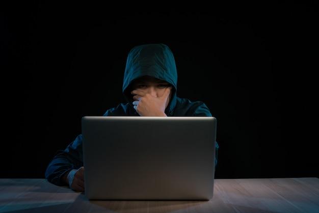 Хакер в темной толстовке с капюшоном сидит перед ноутбуком. атака на конфиденциальность компьютера