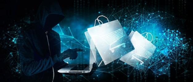 Hacker makes online purchases through hacking on a blue