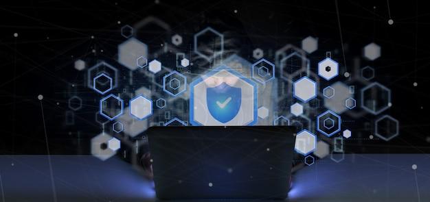 Хакер человек держит висячий замок веб-концепции безопасности 3d-рендеринга