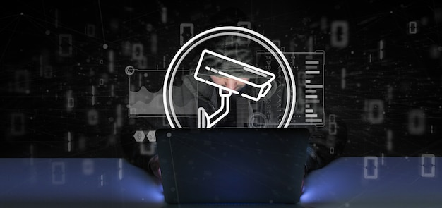 Hacker man holding security camera system icon and statistics data - 3d rendering