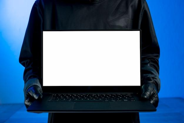 Hacker presenting laptop template