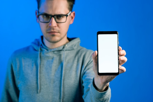 Hacker presenting smartphone template
