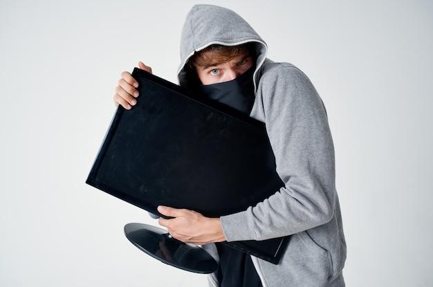 ハッカーステルステクニック強盗安全フーリガン明るい背景