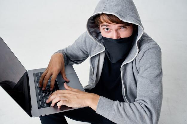 해커 스텔스 기술 강도 안전 훌리건 빛 배경