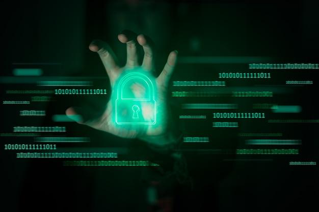 Хакер разблокирует пароль. понятие киберпреступности.