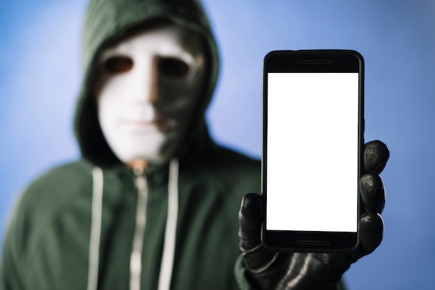 Hacker with smartphone template