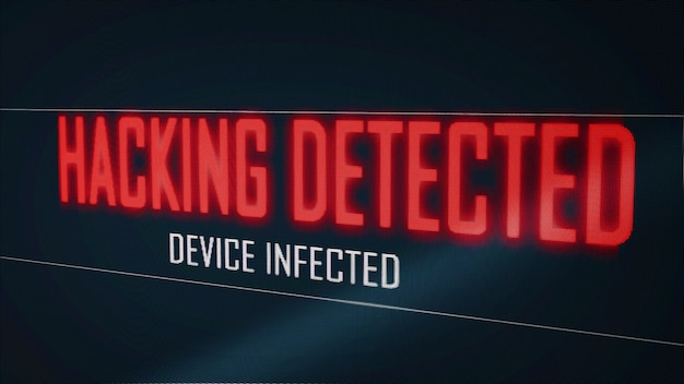 Hacking detected device infected from virus on computer screen pixel flicker effect. blue numeral software global network. cyber security hacker interrupt concept. big data technology. 3d illustration